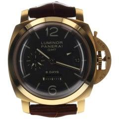 Panerai Luminor 1950 GMT 8 Days 18 Karat Rose Gold Brown Watch PAM00576