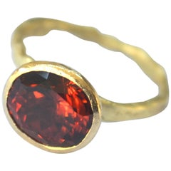 Malaia Garnet 18 Karat Organic Texture Handmade Ring by Disa Allsopp