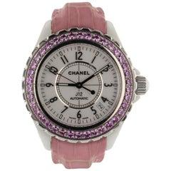 Chanel J12 Classic White Ceramic Pink Sapphire Bezel Ladies Watch H1337 Box