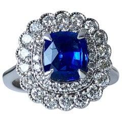 Ceylon Cushion Cut Blue Sapphire Unheated 2ct Certificated White Diamond Halo