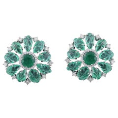 Set in 18 Karat White Gold, Cut and Carved Emerald Stud Earrings with Diamonds