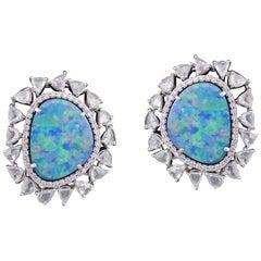 Set in 18 Karat White Gold, Australian Doublet Opal Studs with Rose Cut Diamonds