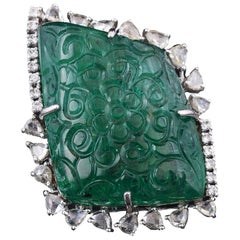 Set in 18 Karat White Gold, Carved Emerald Rose Cut Diamonds Cocktail Ring