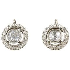 1.55 Carat Diamond Rare Floret Lobe Earrings, circa 1905