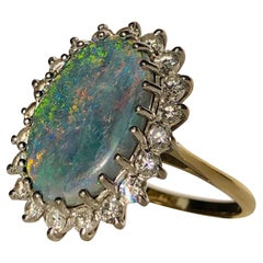 Large Opal Doublet RIng With White Round Brilliant Cut Diamond Halo 1.00ct 18K