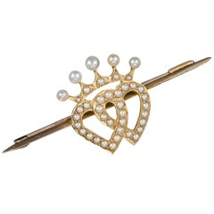 Antique Victorian Scottish Pearl Luckenbooth Heart Brooch 18 Carat Gold