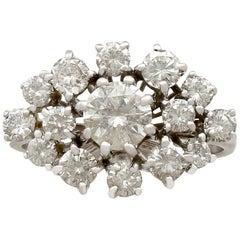 1950s 1.75 Carat Diamond White Gold Cluster Ring