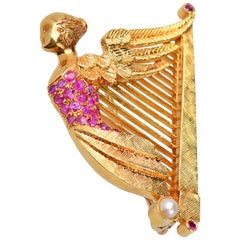 Vintage Winged Nike Ruby Harp Brooch or Pendant