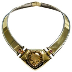 Necklace in Contemporary Art Design, Silver and Gold with a Natural Citrin Heart