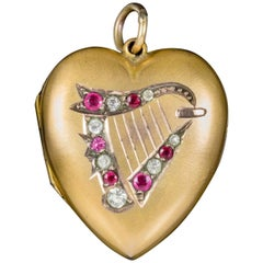 Antique Victorian Paste Lyre Heart Locket 9 Carat Gold Back and Front