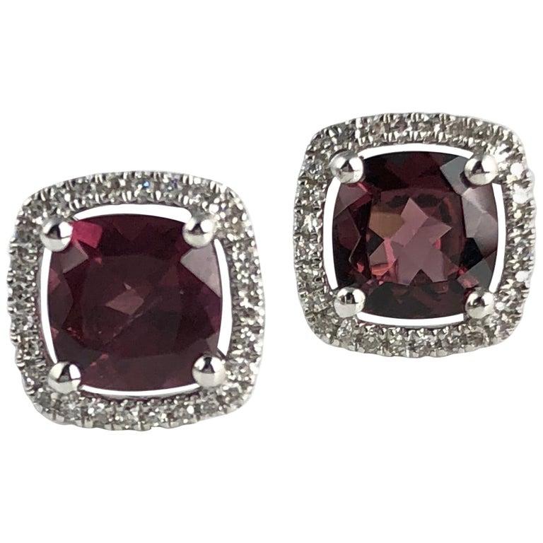 2.27 Carat Raspberry Garnet and Diamond Halo Stud Earrings in 14 Karat Gold For Sale
