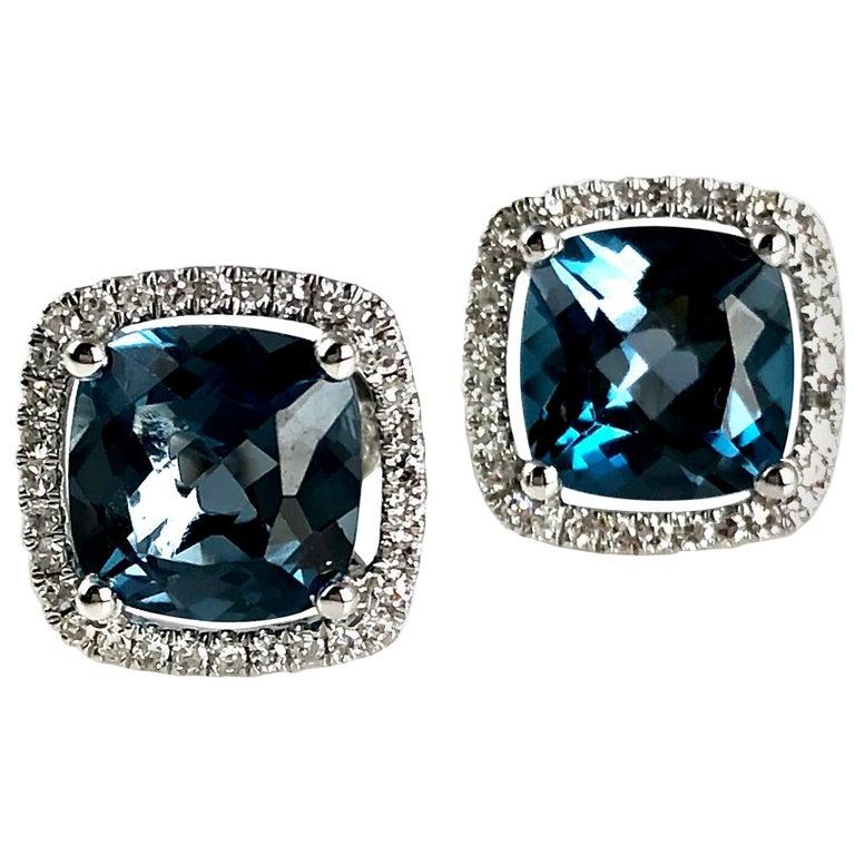 DiamondTown 3.73 Carat London Blue Topaz Halo Stud Earrings in 14 Karat Gold For Sale