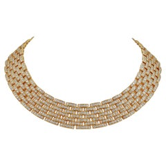 Cartier 18 Karat Yellow Gold Diamond Maillon Panthère Link Necklace