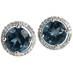 3.24 Carat London Blue Topaz Halo Stud Earrings in 14 Karat Gold by Diamond Town
