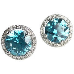 2.99 Carat Blue Zircon Halo Stud Earrings in 14 Karat White Gold