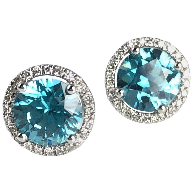 4d7b471c6 2.99 Carat Blue Zircon Halo Stud Earrings in 14 Karat White Gold For Sale