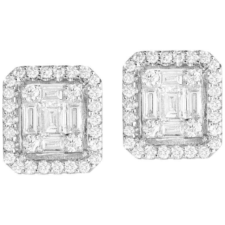 0.75 Carat Diamond Cluster and Halo Studs in 18 Karat White Gold For Sale