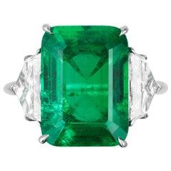 Bayco 6.85 Carat Un-Enhanced Old-Mine Colombian Emerald Diamond Platinum Ring