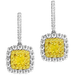 GIA Certified 0.86/0.79 Carat Cushion Cut Natural Fancy Intense Yellow Earrings