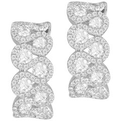 2.00 Carat Diamond Bridal Engagement Lever-Back Stud Earrings in 18 Karat Gold