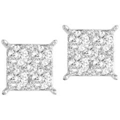 0.86 Carat Diamond Cluster Stud Earrings in 18 Karat White Gold