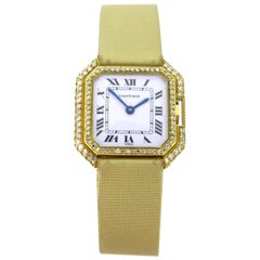 Cartier Ceinture Octagonal Diamonds Lady Manual Wind Yellow Gold Wristwatch