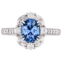 GIA Certified 1.83 Carat Oval Cut Ceylon Sapphire Halo Ring in 18 Karat Gold