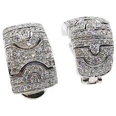 Bvlgari 18 Karat White Gold Parentesi Diamond Earrings