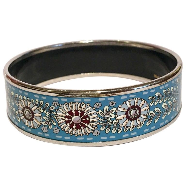 Hermes Floral Blue Enamel Bangle Bracelet with Dustbag and Box For Sale