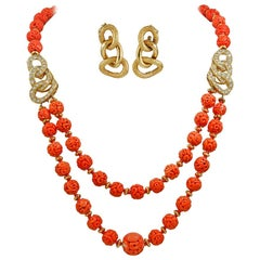 Van Cleef & Arpels Carved Coral Beads, Diamond Necklace and Earrings