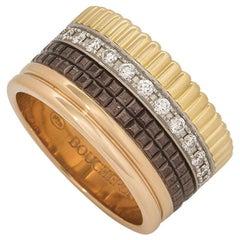 Boucheron Tri-Colour Quatre Classique PVD and Diamond Band Ring