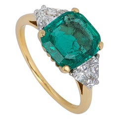 Certified Cartier Emerald and Diamond Ring