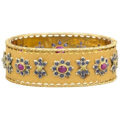 Buccellati Ruby, Sapphire and 18 Karat Gold Bangle Bracelet
