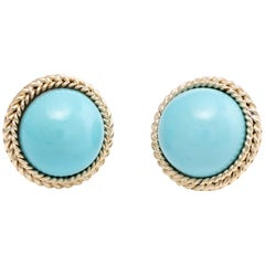 Egg Shell Blue Turquoise Round Clip Earrings Vintage 14 Karat Yellow Gold Estate