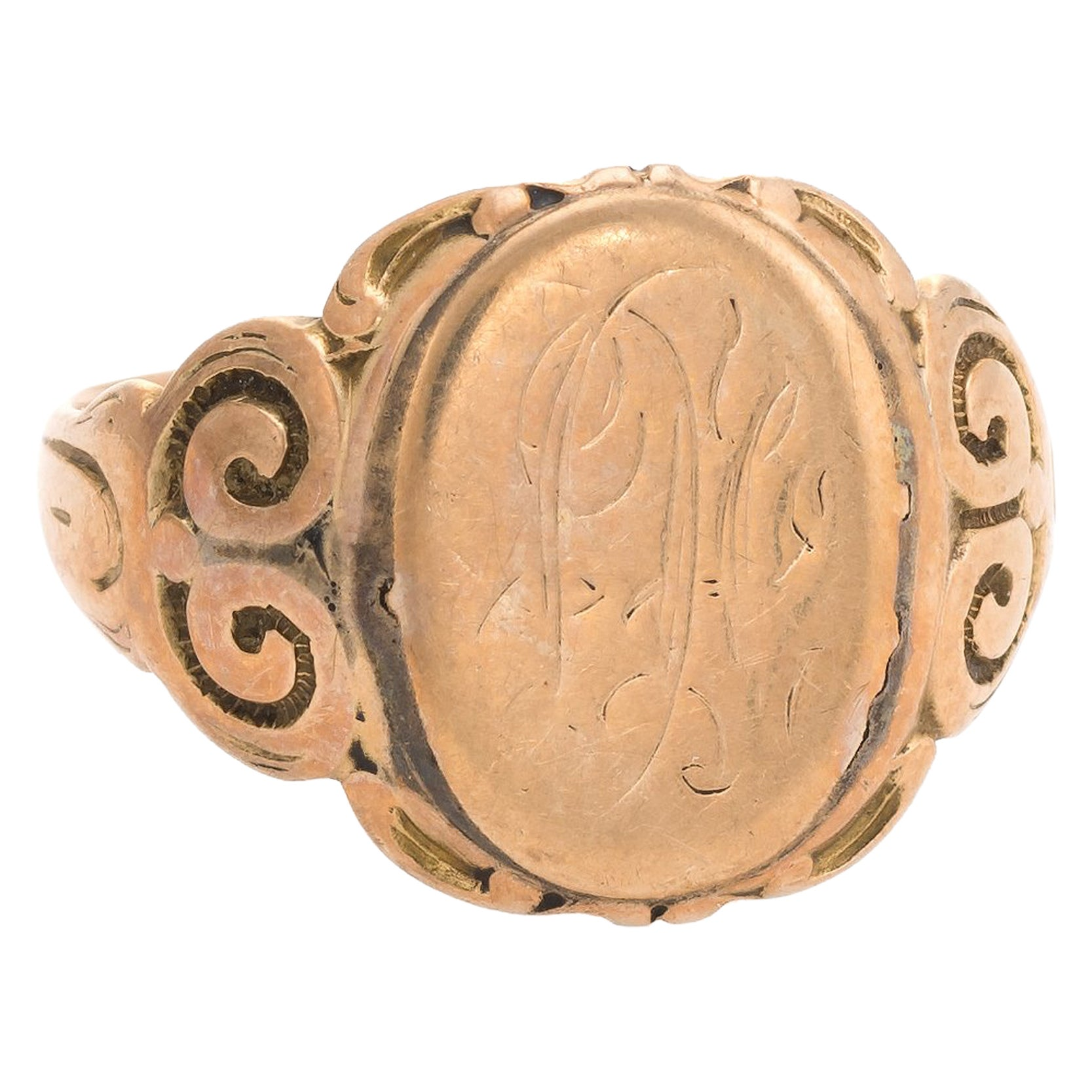 Antique Victorian Signet Ring 10 Karat Rose Gold Vintage Fine Jewelry Estate