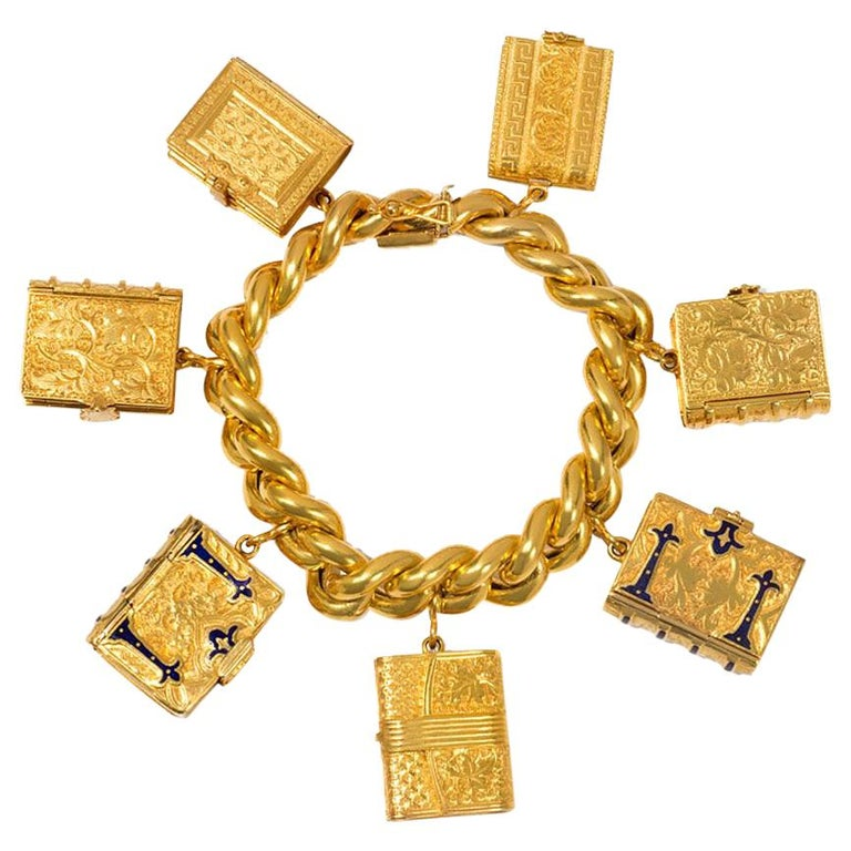 Victorian Gold Charm Bracelet with Book-Shaped Lockets For Sale