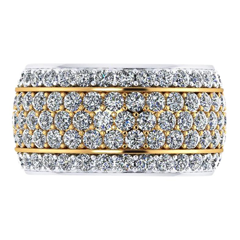 4.70 Carat Wide White Diamond Pave' Ring 18 Karat Yellow and White Gold
