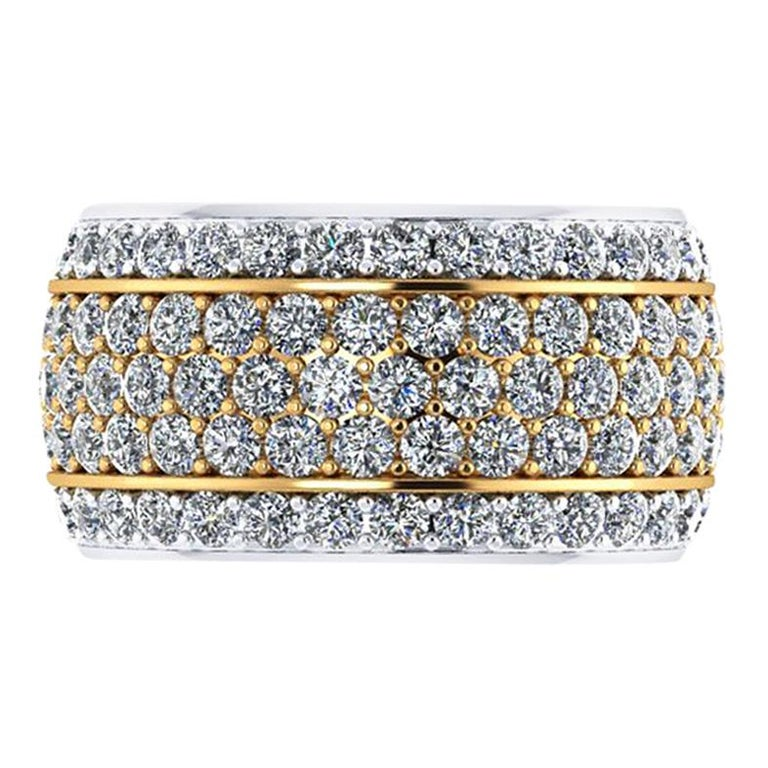 4.70 Carat Wide White Diamond Pave' Ring 18 Karat Yellow and White Gold For Sale