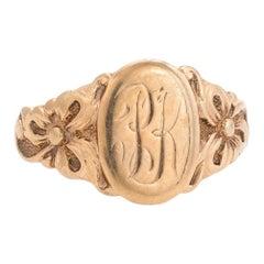 Antique Victorian Signet Ring 10 Karat Rose Gold JR Wood Vintage Fine Jewelry