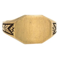 Antique Deco Ostby Barton Signet Ring Vintage 10 Karat Gold Estate Jewelry