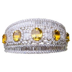 37 Carat Diamond and Yellow Topaz 18 Karat Hinged Bangle Bracelet