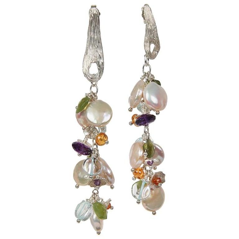 White Orchid Studio earrings of pearl aqua mandarin garnet idocrase amethyst  For Sale
