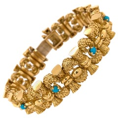Original Tiffany & Co. Yellow Gold Turquoise Bracelet, circa 1960
