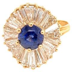 Herbert Rosenthal 3 carat Ring Gold GIA Sapphire & Diamond circa 1960 Ballerina