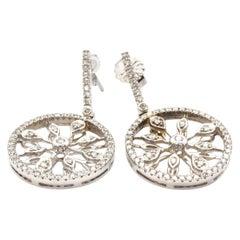 14 Karat White Gold and 0.64 Carat Diamond Circle Drop Earrings