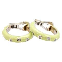 Andreoli 18 Karat White Gold, Diamond and Green Enamel Hoop Earrings