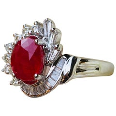 Elegant 1.6 Carat Red Ruby and 1 Carat Diamond Swirl 18 Karat White Gold Ring