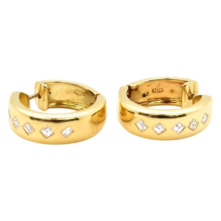 f51b449e5 18 Karat Yellow Gold and 0.50 Carat Princess Diamond Hoop Earrings For Sale