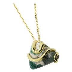 18 Karat One of A Kind LargeAustralian Chrysocolla Snake Pendant Chain Necklace