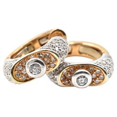 Lavin 18 Karat White and Rose Gold Diamond Huggie Earrings 1.20 Carat